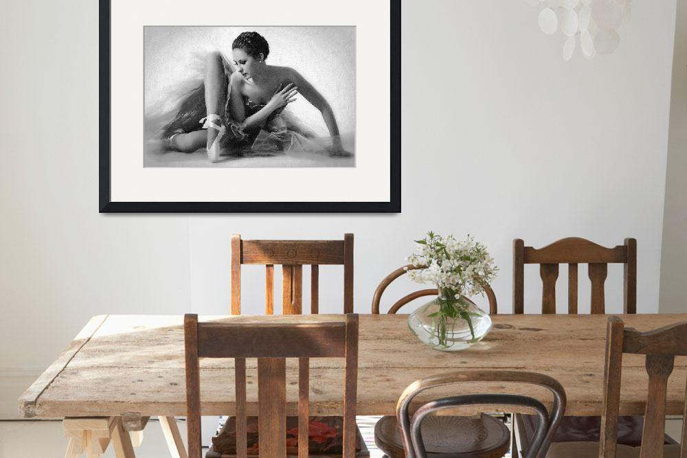 """""""Ballet Dancer Sitting Black and White""""  (2014) by RubinoFineArt"""