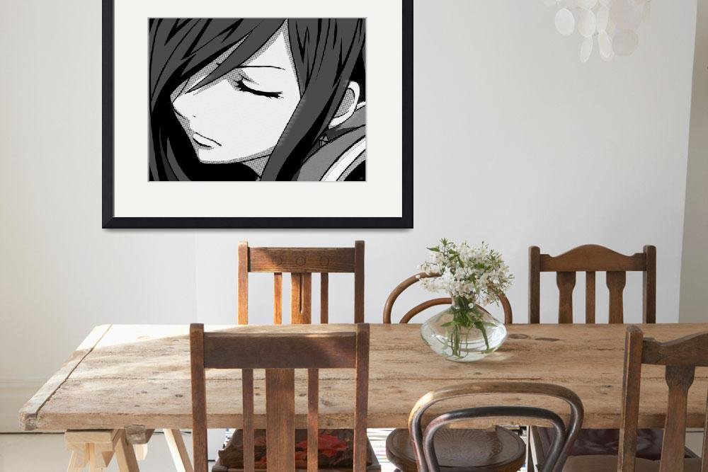 """""""Anime Girl Black And White&quot  (2015) by RubinoFineArt"""