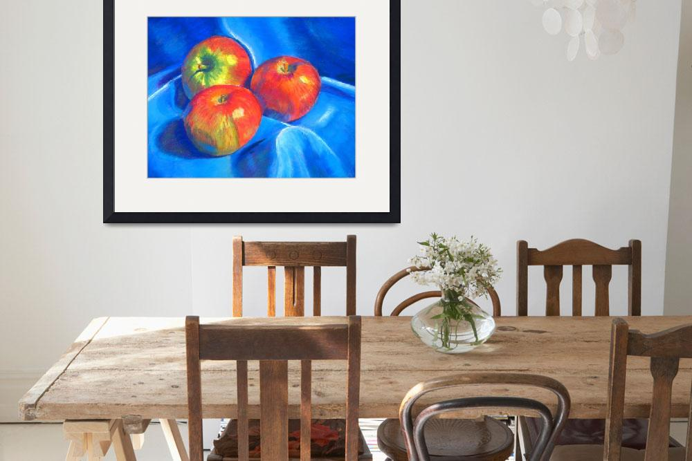 """Apples on blue cloth&quot  (2009) by ArtbyMarionHedger"