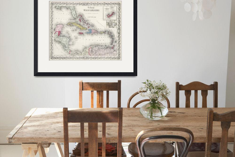 """""""Vintage Map of The Caribbean (1865)&quot  by Alleycatshirts"""