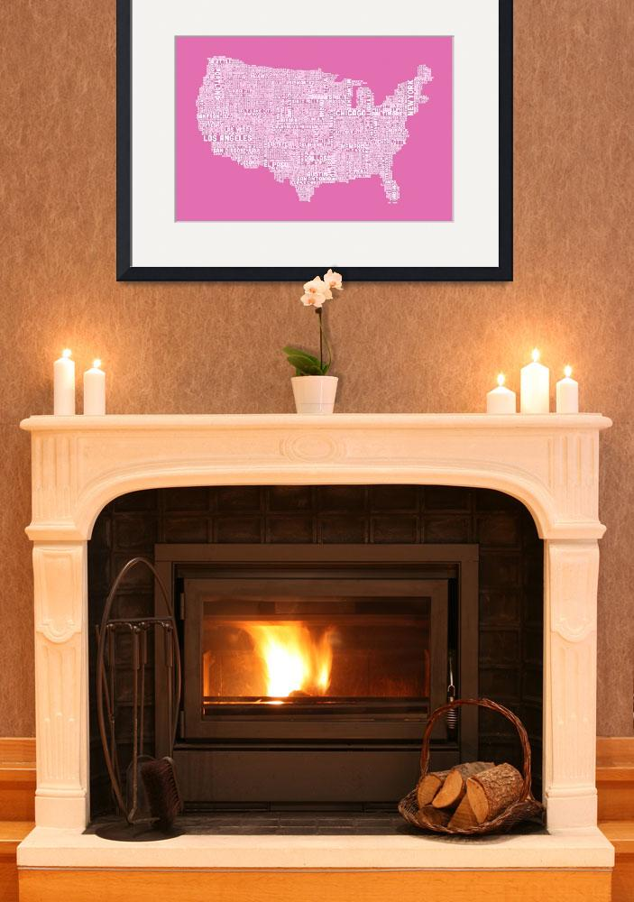 """""""United States Typography Text Map&quot  (2012) by ModernArtPrints"""