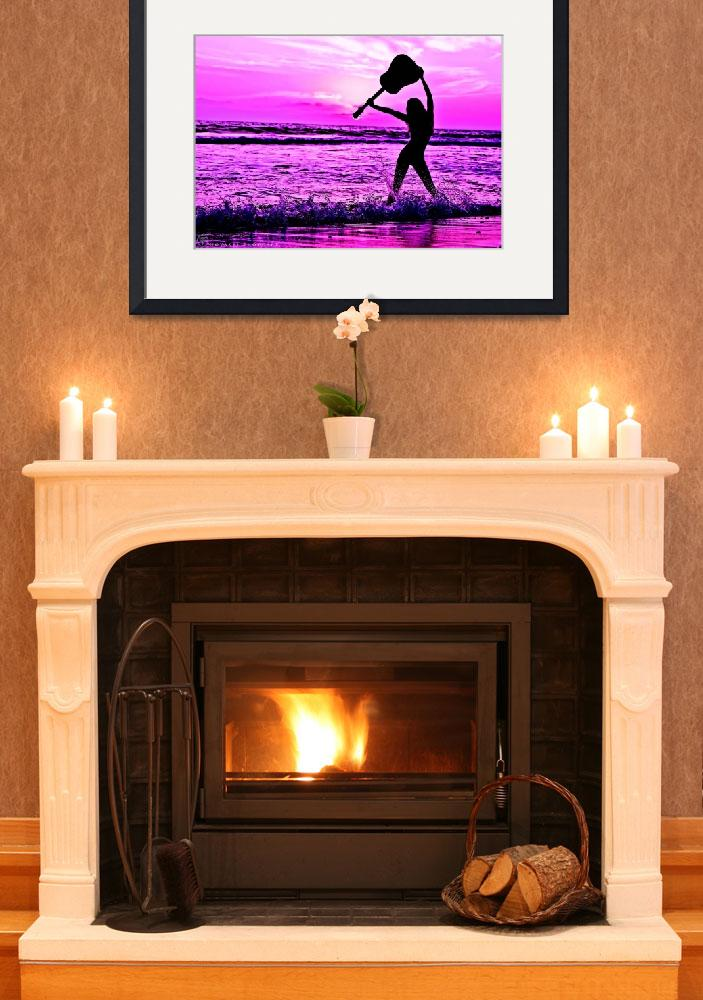 """""""Sassy Girl Musician Holding Guitar Purple Sunset&quot  (2015) by NovazziPhotoArt"""