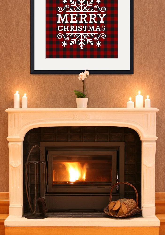 """""""red black plaid  white holiday greet&quot  by lizmix"""