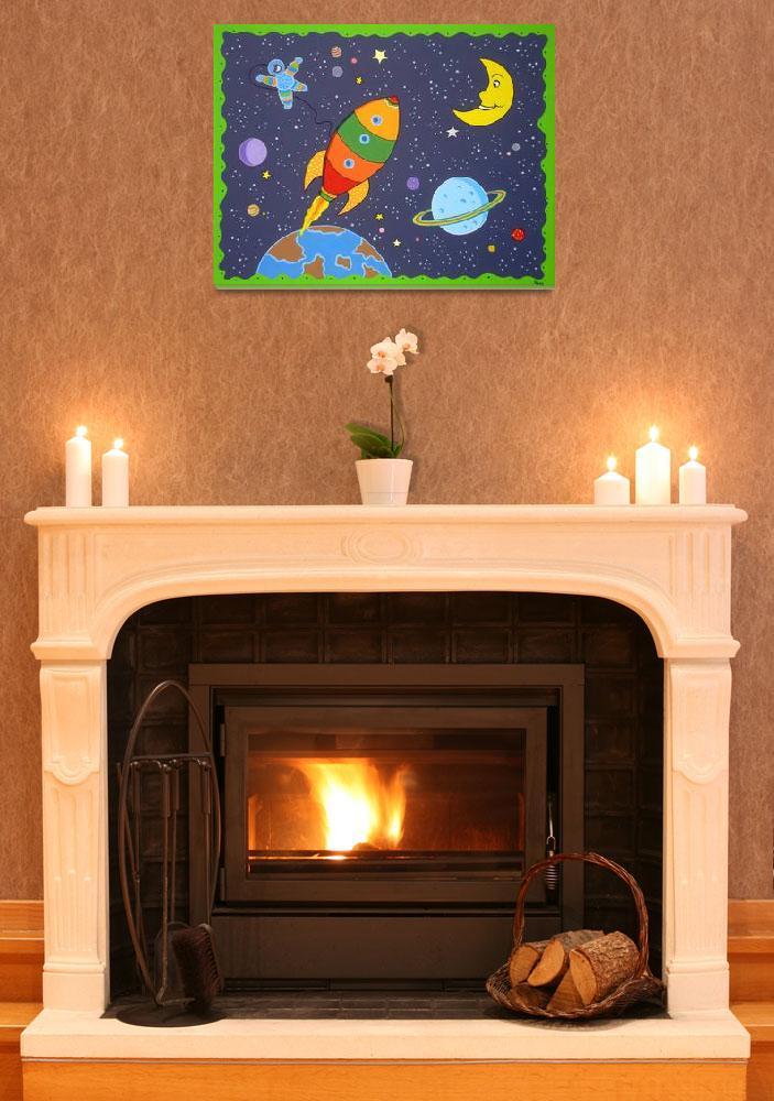 """""""Space travel nursery room painting""""  (2008) by nopiepan"""
