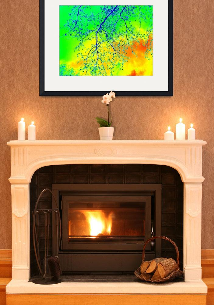 """""""green, yellow and orange horizontal print of trees""""  (2013) by cathyjacobs"""