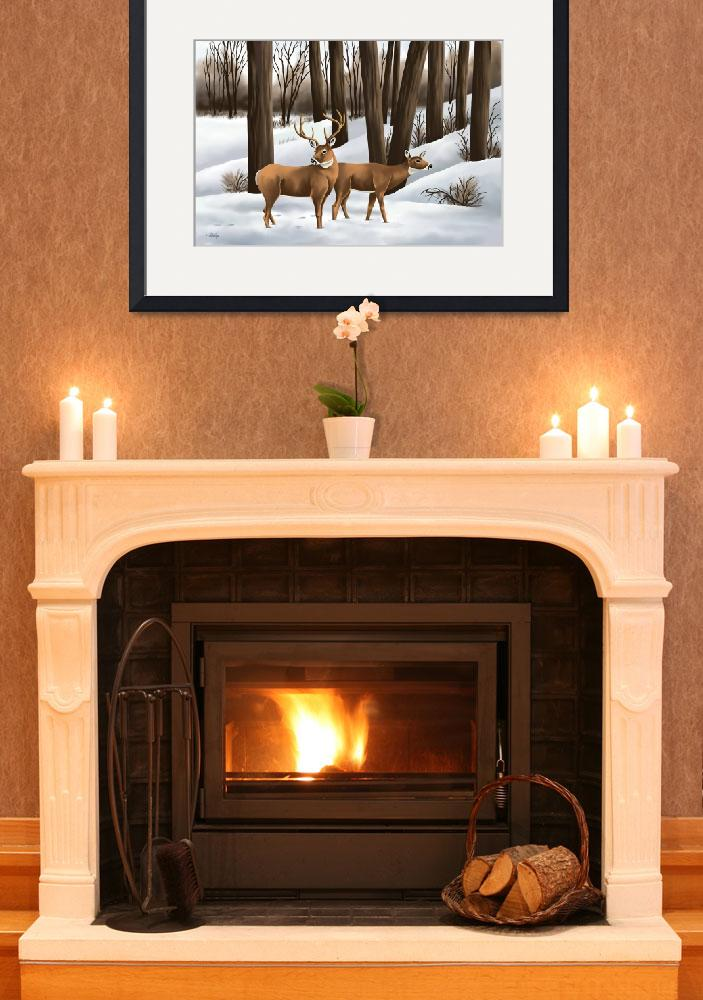 """""""Whitetail Deer In Snow&quot  (2010) by waterart"""