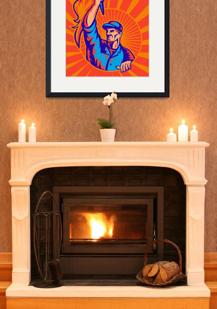 """""""worker carrying flaming torch sunburst retro&quot  (2013) by patrimonio"""