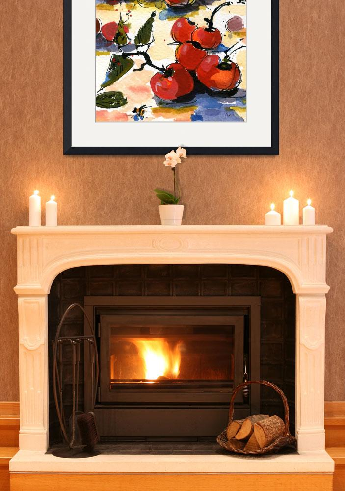 """""""Modern Cherries Square Watercolor by Ginette&quot  (2011) by GinetteCallaway"""
