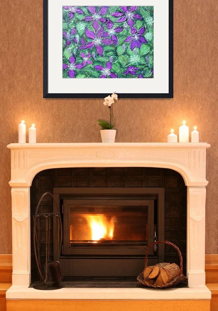 """""""Purple Clematis Painting&quot  (2007) by catnip009"""