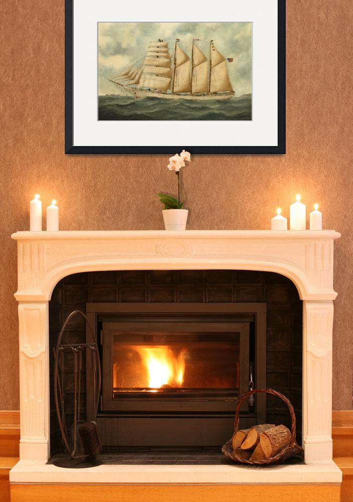 """""""Vintage Illustration of a Large Sailing Yacht (191&quot  by Alleycatshirts"""