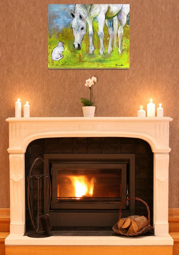"""""""Best Friends Horse Art Painting&quot  by BlendaStudio"""