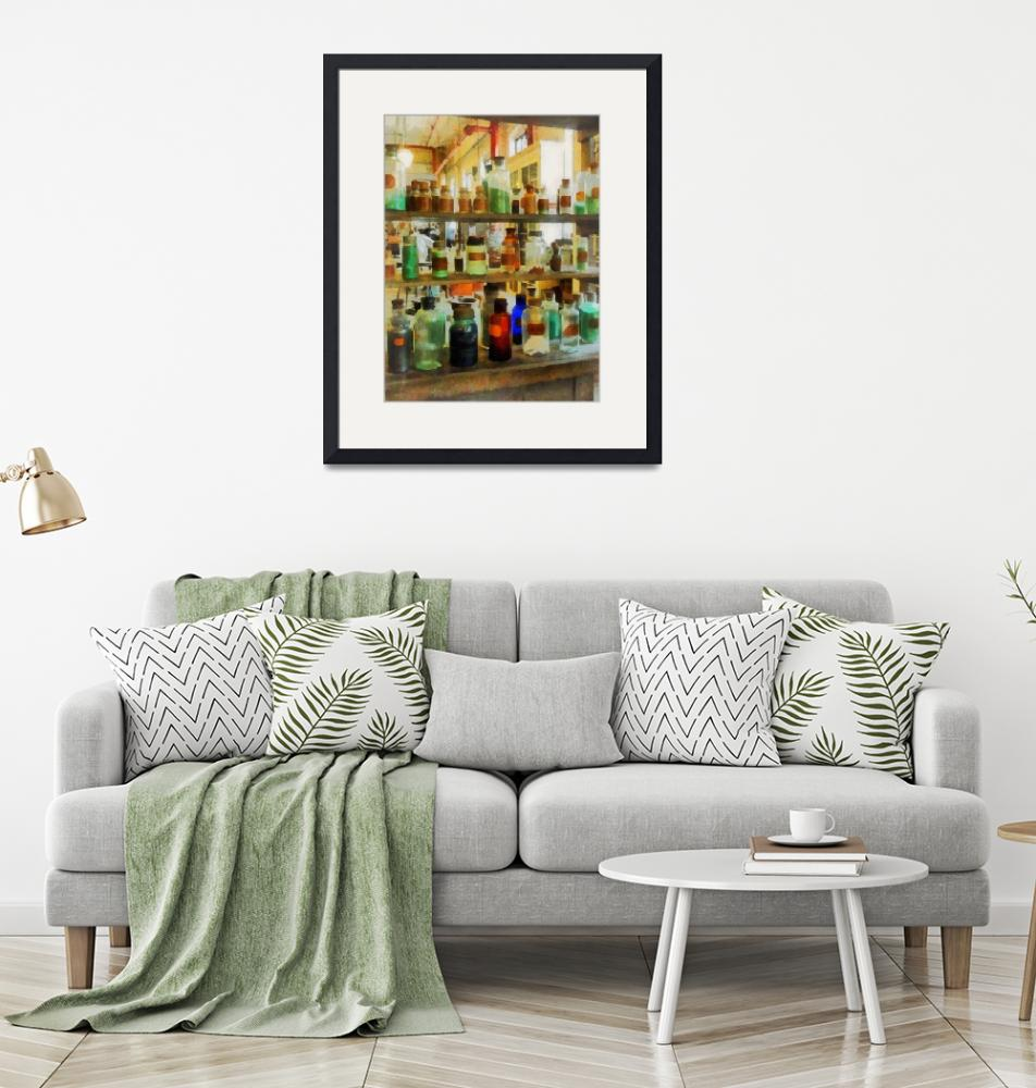 """""""Bottles of Chemicals Green and Brown""""  by susansartgallery"""