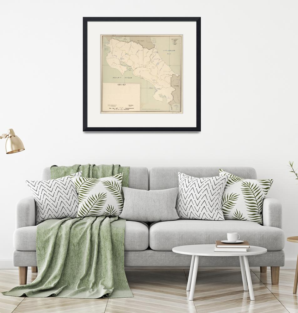 """""""Vintage Map of Costa Rica (1950)""""  by Alleycatshirts"""