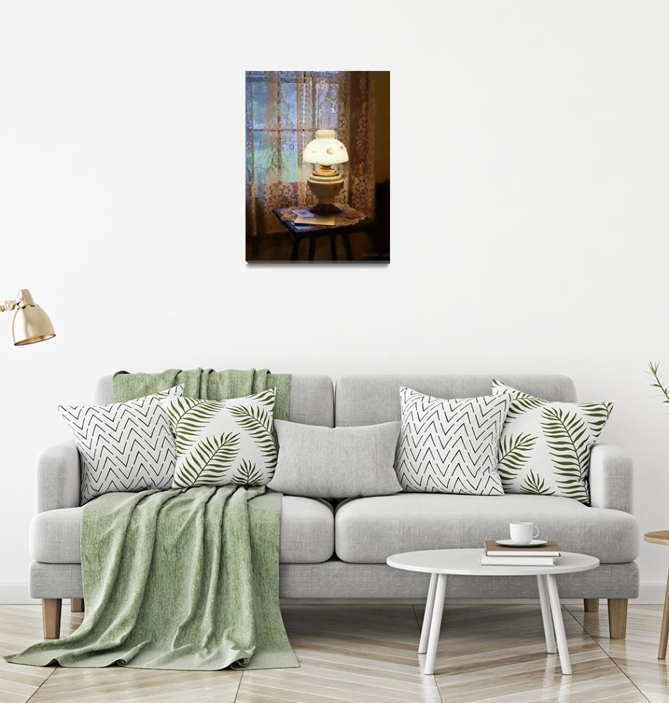 """Parlor With Hurricane Lamp""  by susansartgallery"