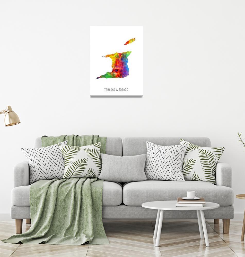 """""""Trinidad & Tobago Watercolor Map""""  (2019) by ModernArtPrints"""