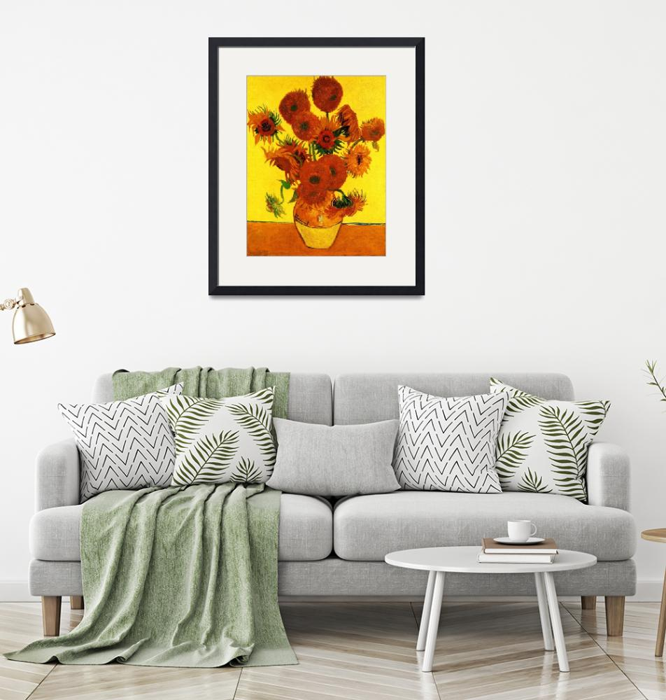 """""""Still Life Vase with Fifteen Sunflowers 3""""  by ArtLoversOnline"""