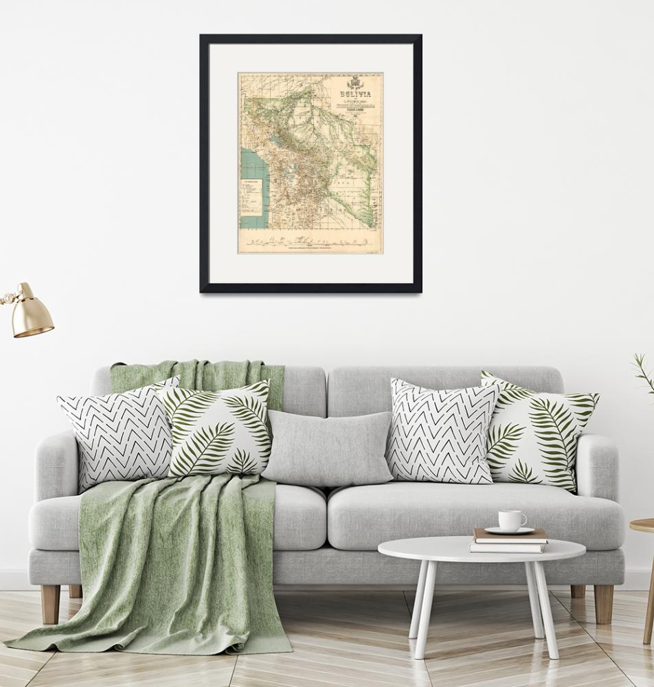 """Vintage Map of Bolivia (1905)""  by Alleycatshirts"