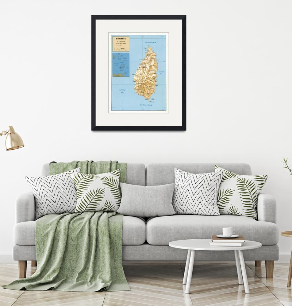"""""""St Lucia Island Map (1991) Helen of the West Indie""""  by Alleycatshirts"""