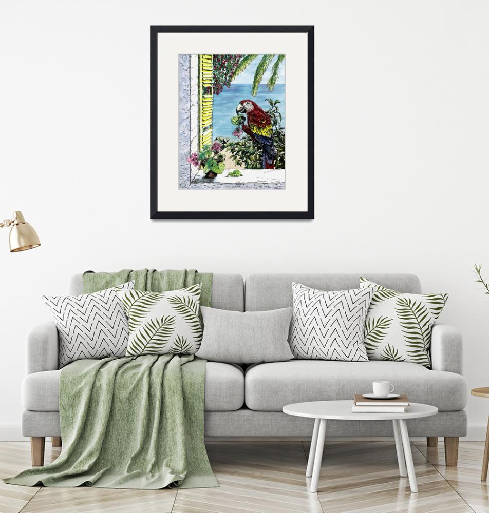 """""""Scarlet Macaw and the Sea - watercolor and ink""""  by savanna"""