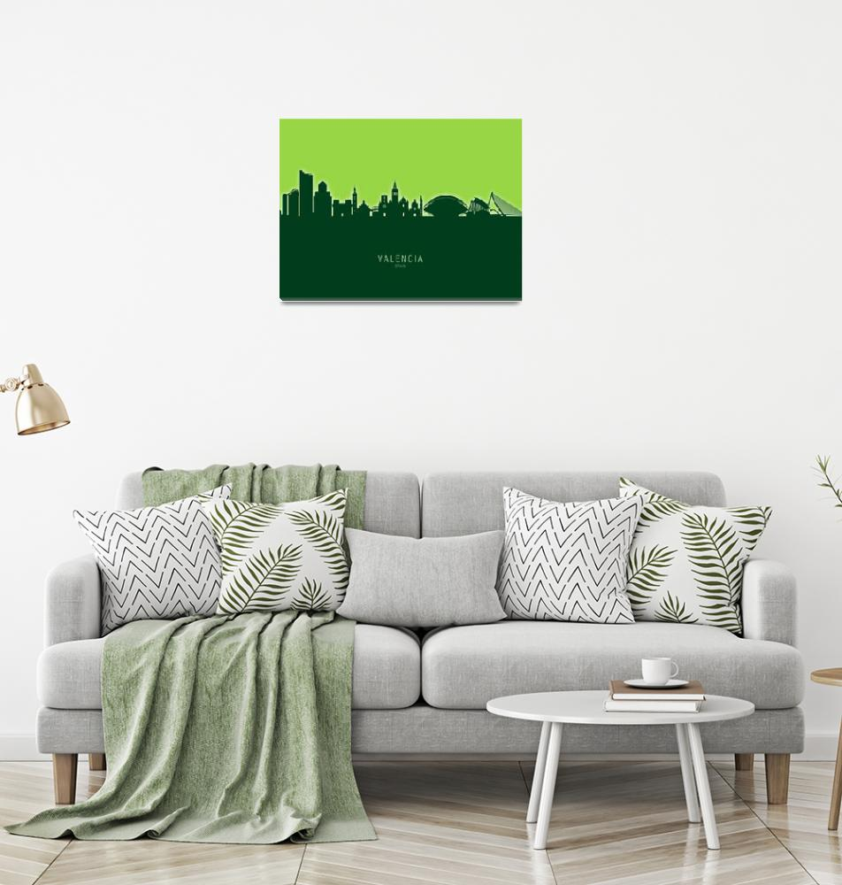 """Valencia Spain Skyline""  (2020) by ModernArtPrints"