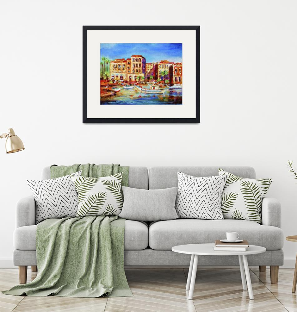 """""""Mediterranean Seaside Village and Boats""""  (2015) by GinetteCallaway"""