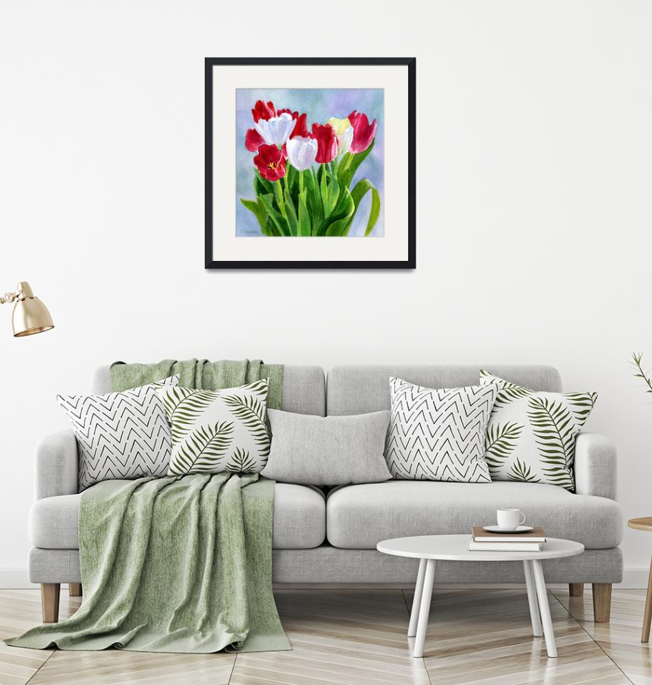 """""""Red and White Tulip Bouquet Blue Gray Background"""" (2009) by Pacific-NW-Watercolors"""