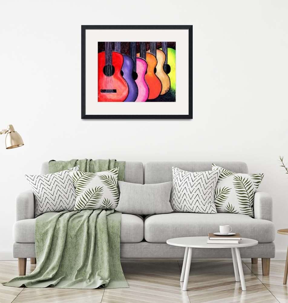 """""""Acoustic Guitars Fine Art Colorful Print""""  (2010) by lonisart570"""