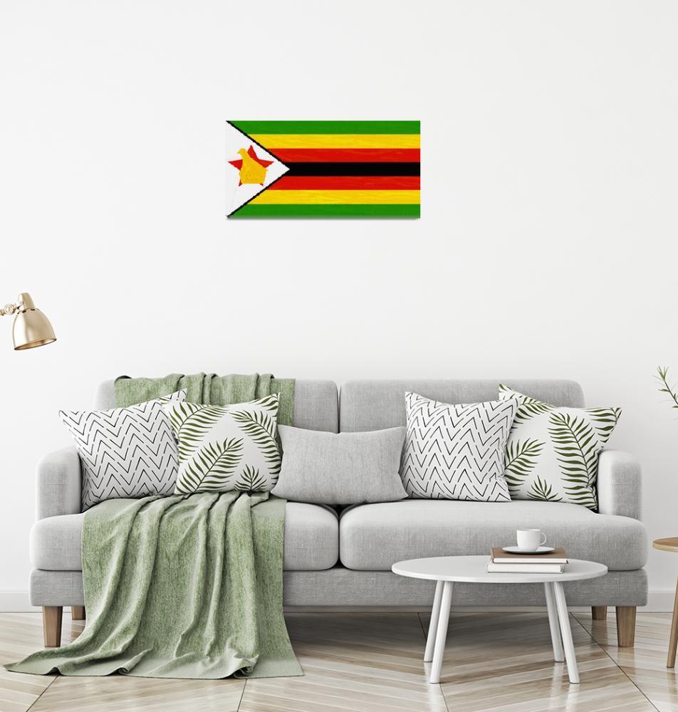 """Flag of Zimbabwe ,  County Flag Painting ca 2020 b""  by motionage"