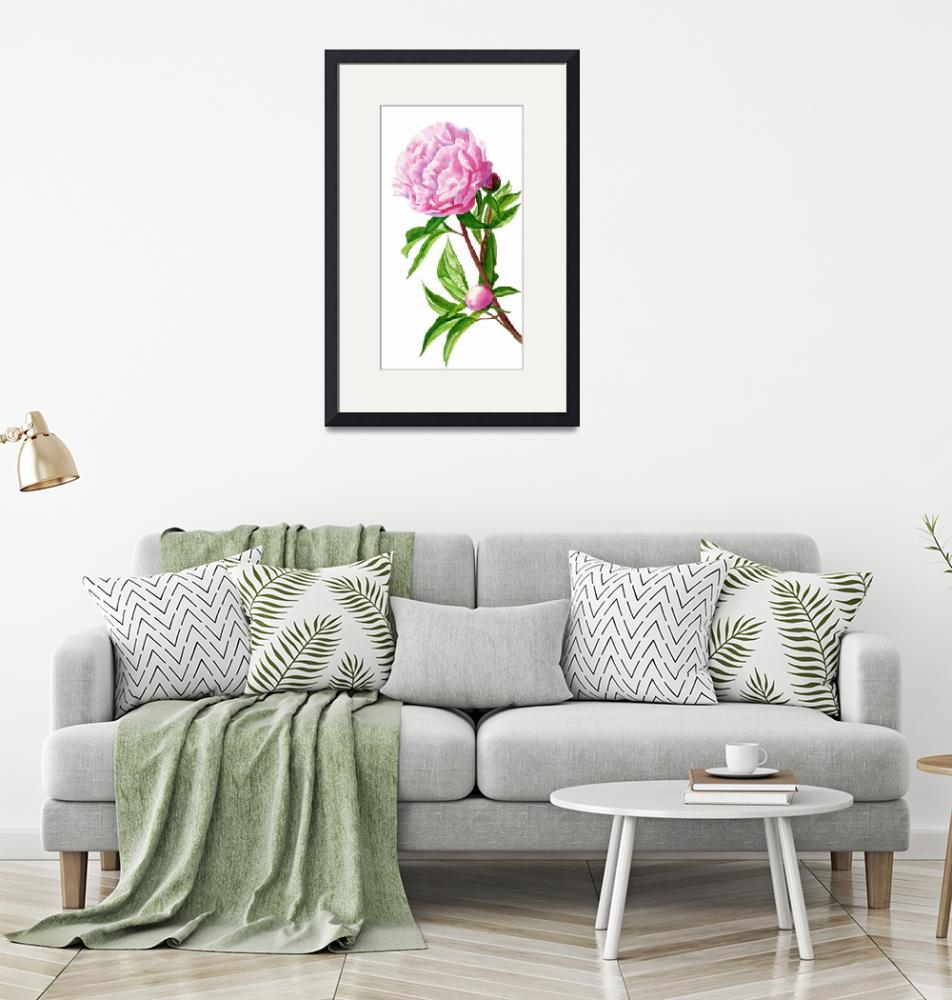 """Pink Peony with Leaves and Buds""  (2013) by Pacific-NW-Watercolors"