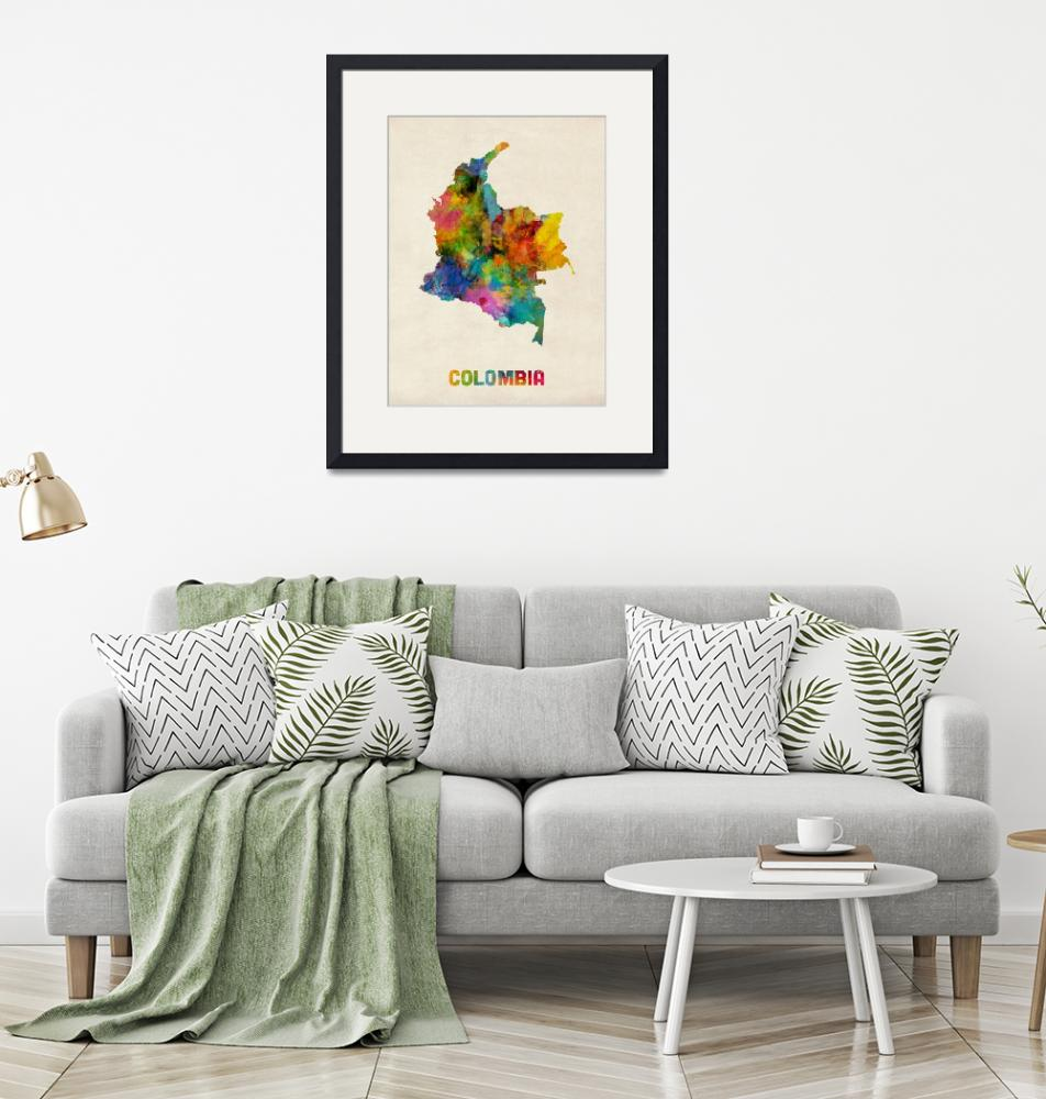 """Colombia Watercolor Map""  (2014) by ModernArtPrints"