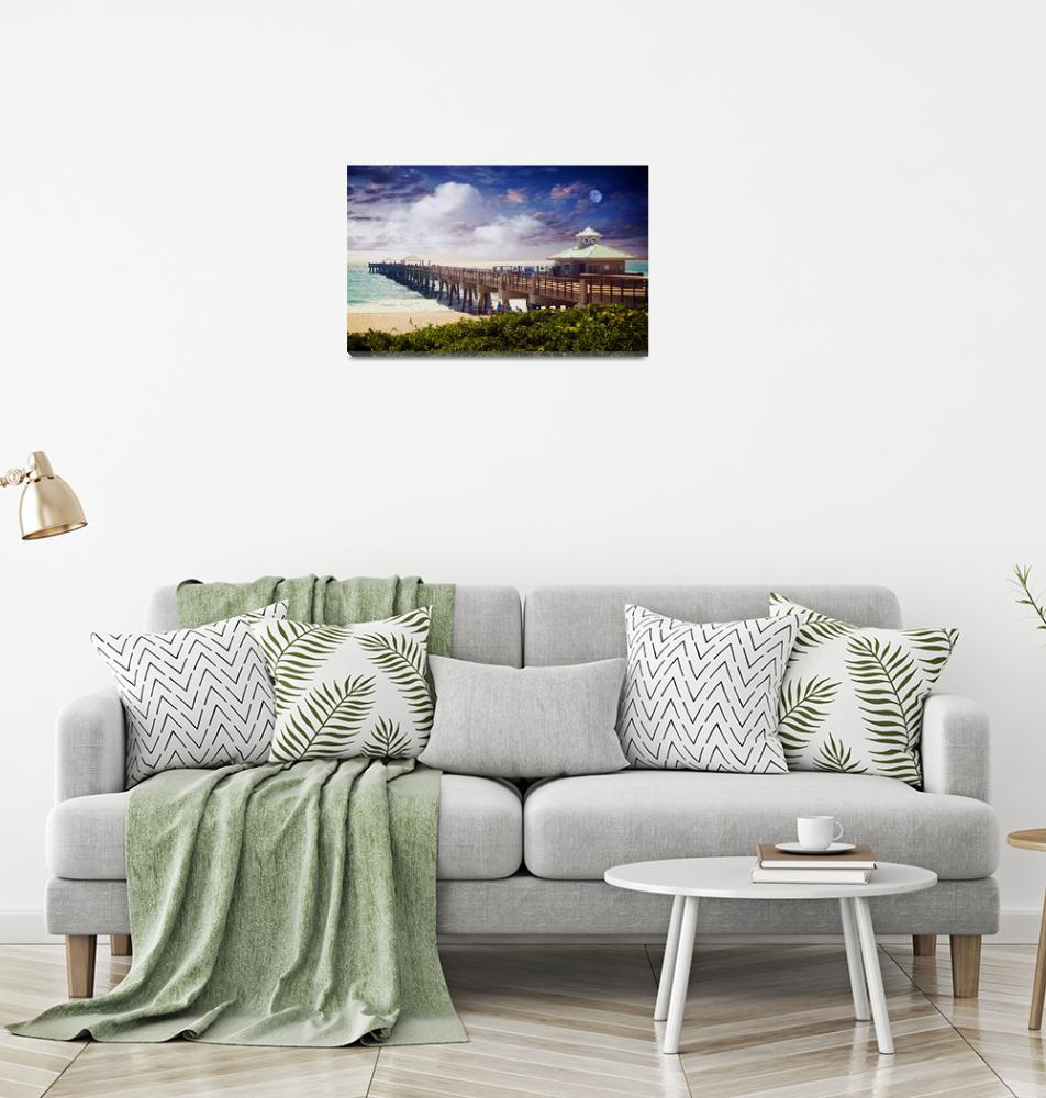 """Juno Beach Pier Treasure Coast Seascape Dawn C5a""  (2015) by Ricardos"