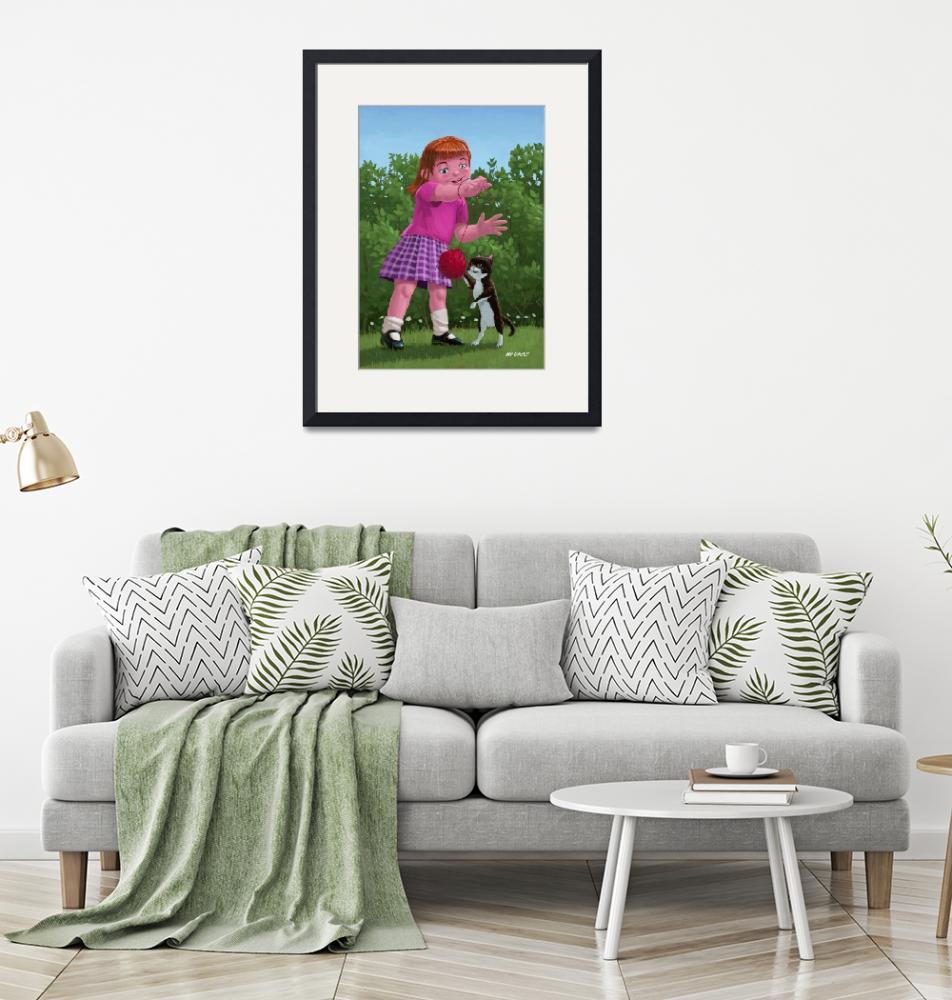 """""""cat and girl playing""""  (2011) by martindavey"""