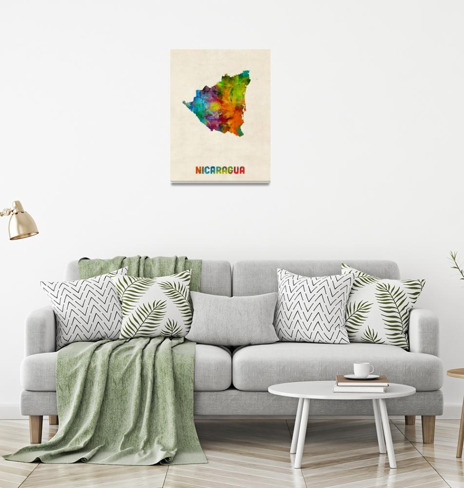 """Nicaragua Watercolor Map""  (2014) by ModernArtPrints"