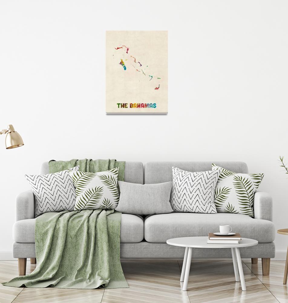 """The Bahamas Watercolor Map""  (2015) by ModernArtPrints"