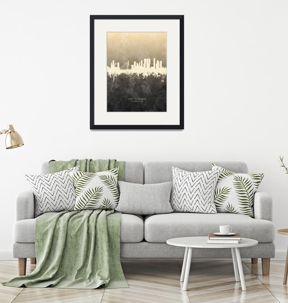 """Rotterdam The Netherlands Skyline""  (2019) by ModernArtPrints"