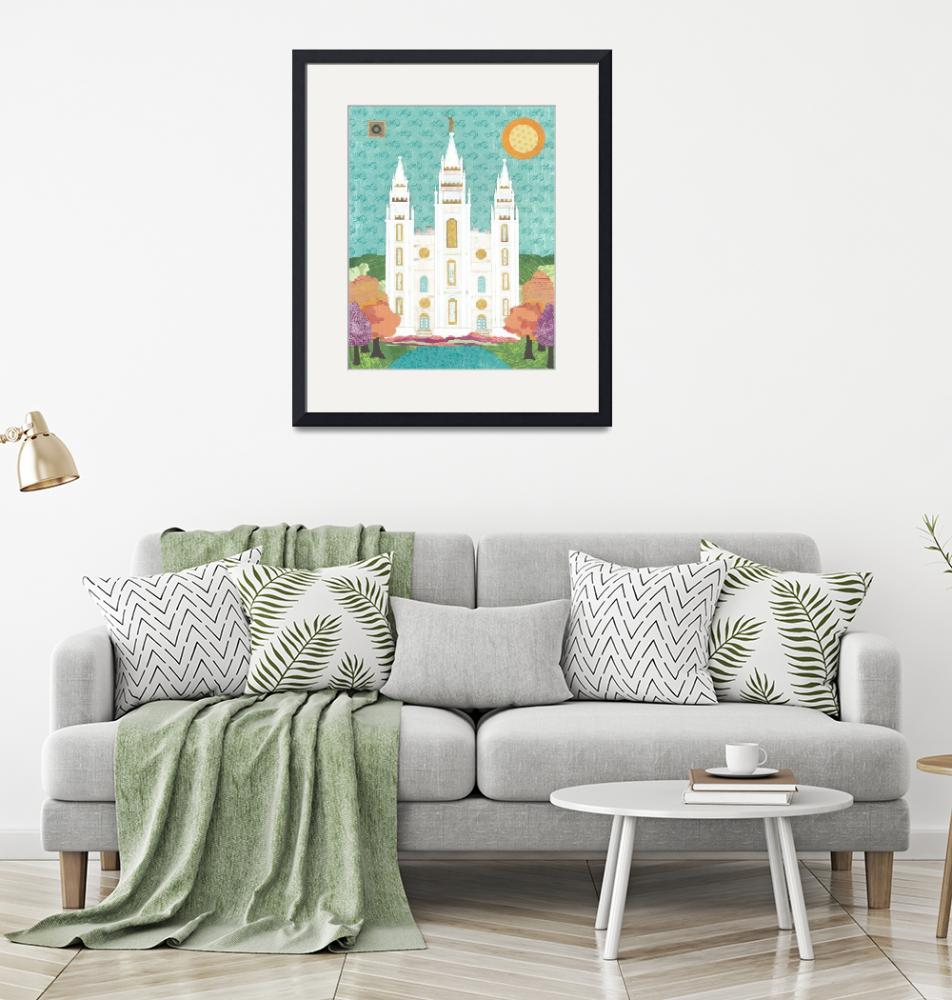 """""""Salt Lake LDS Temple Bright""""  (2012) by AZeleskiCollages"""