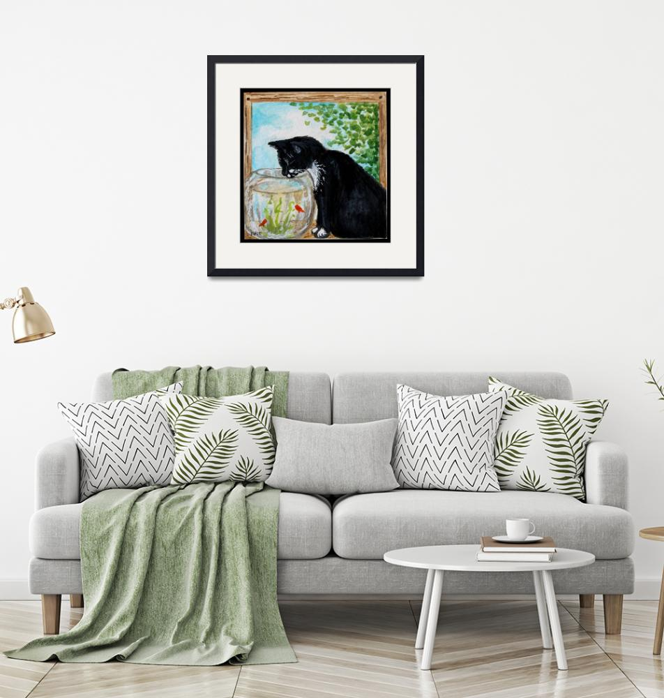 """""""The Tuxedo Cat and the Fish Bowl""""  (2012) by ElizaArt"""