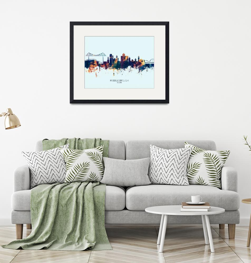 """Middlesbrough England Skyline""  (2019) by ModernArtPrints"