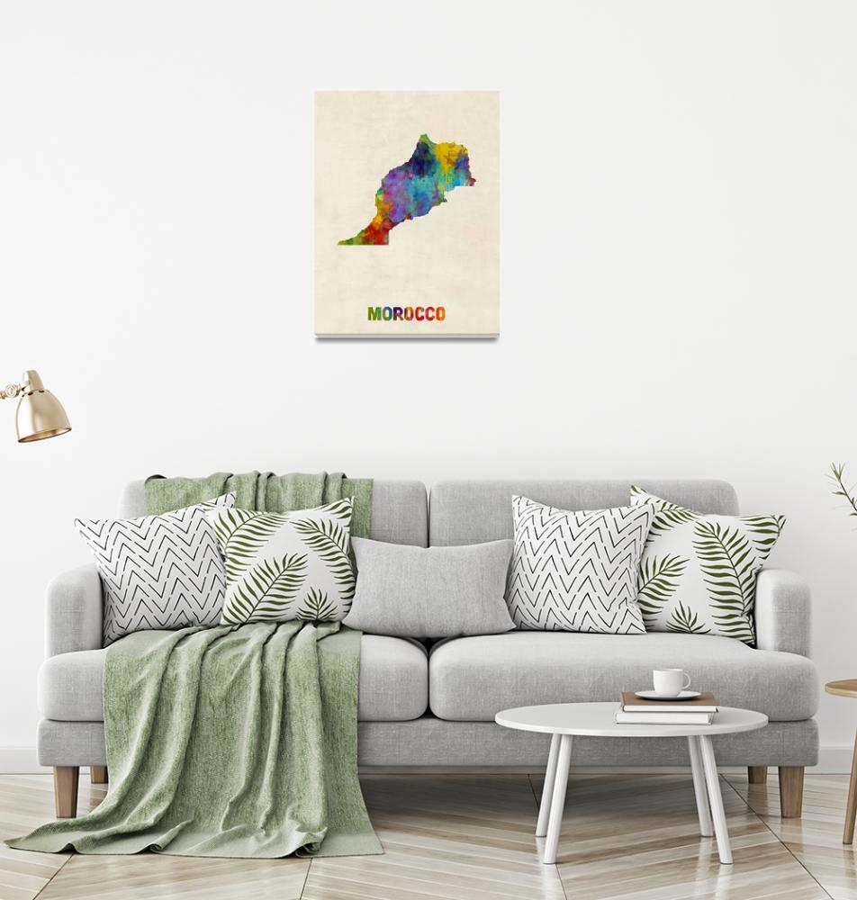 """Morocco Watercolor Map""  (2017) by ModernArtPrints"