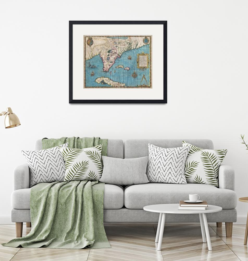 """""""Map of Florida and Cuba by De Bry & Le Moyne"""" by FineArtClassics"""