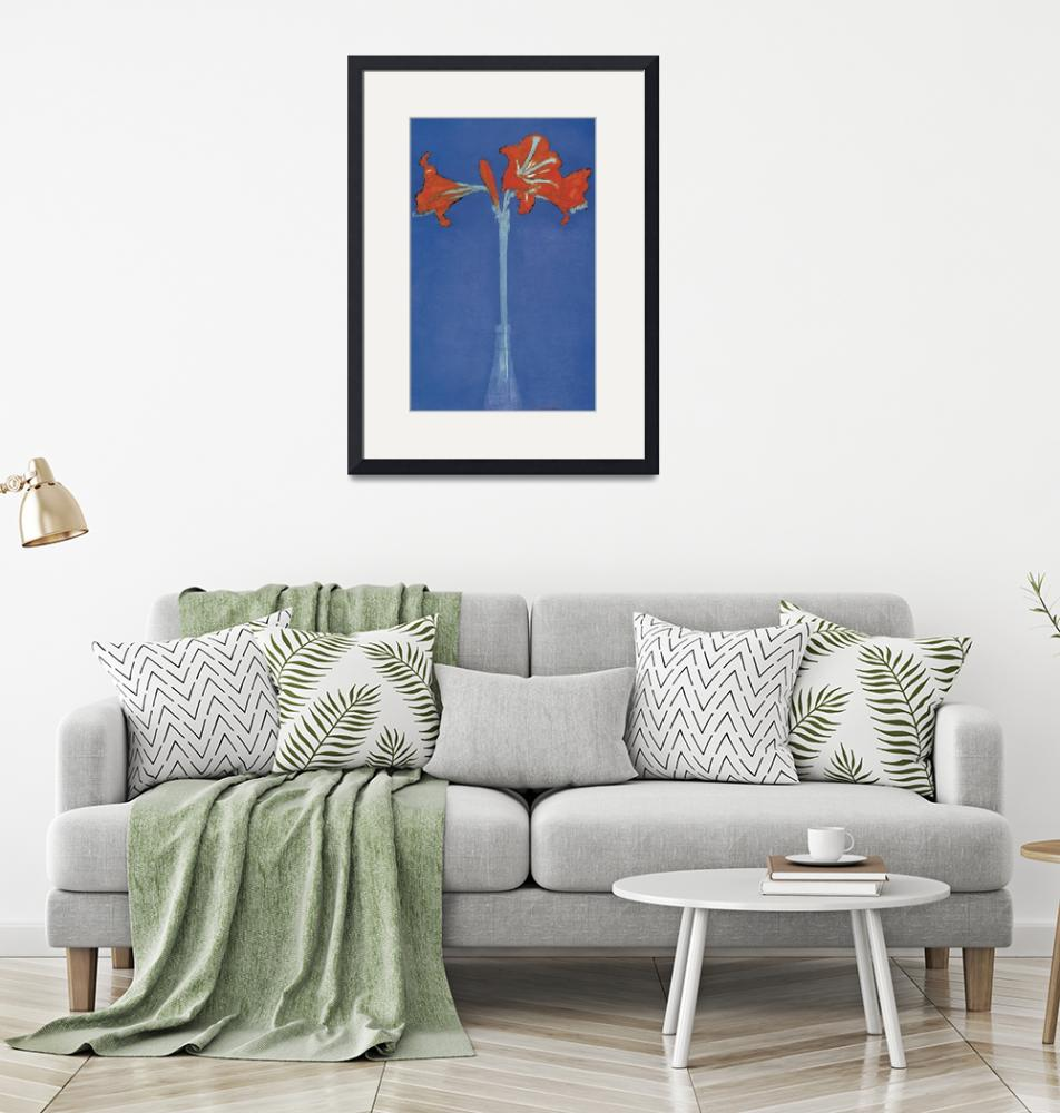 """""""Mondrian Amaryllis in a Flash in front of a blue b""""  by oldies"""