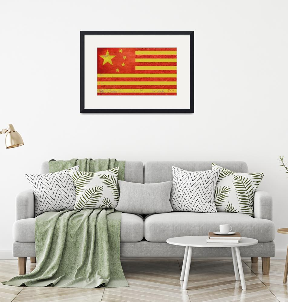 """""""Chinese American Flag""""  (2013) by RubinoFineArt"""