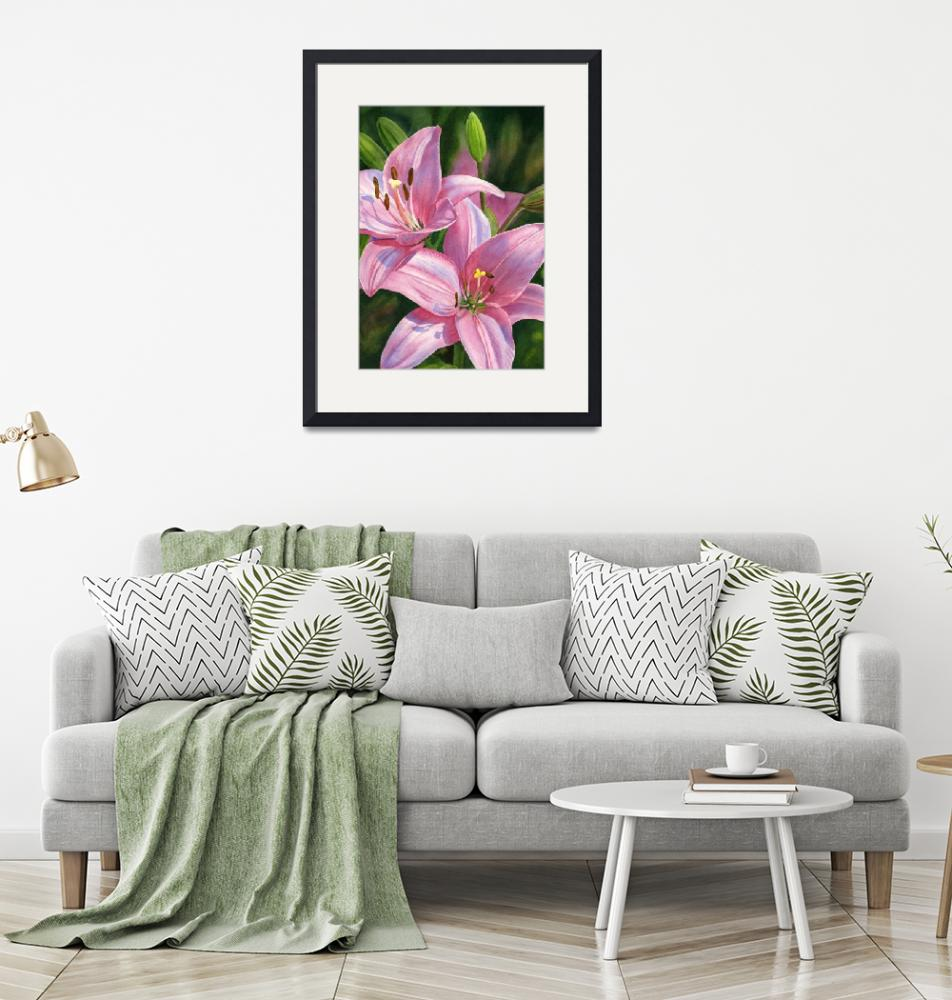 """""""two brilliant pink lilies with buds""""  (2019) by Pacific-NW-Watercolors"""