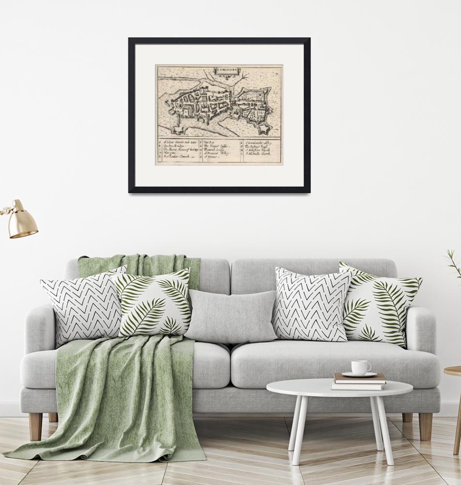 """""""Vintage Map of Limerick Ireland (1618)""""  by Alleycatshirts"""