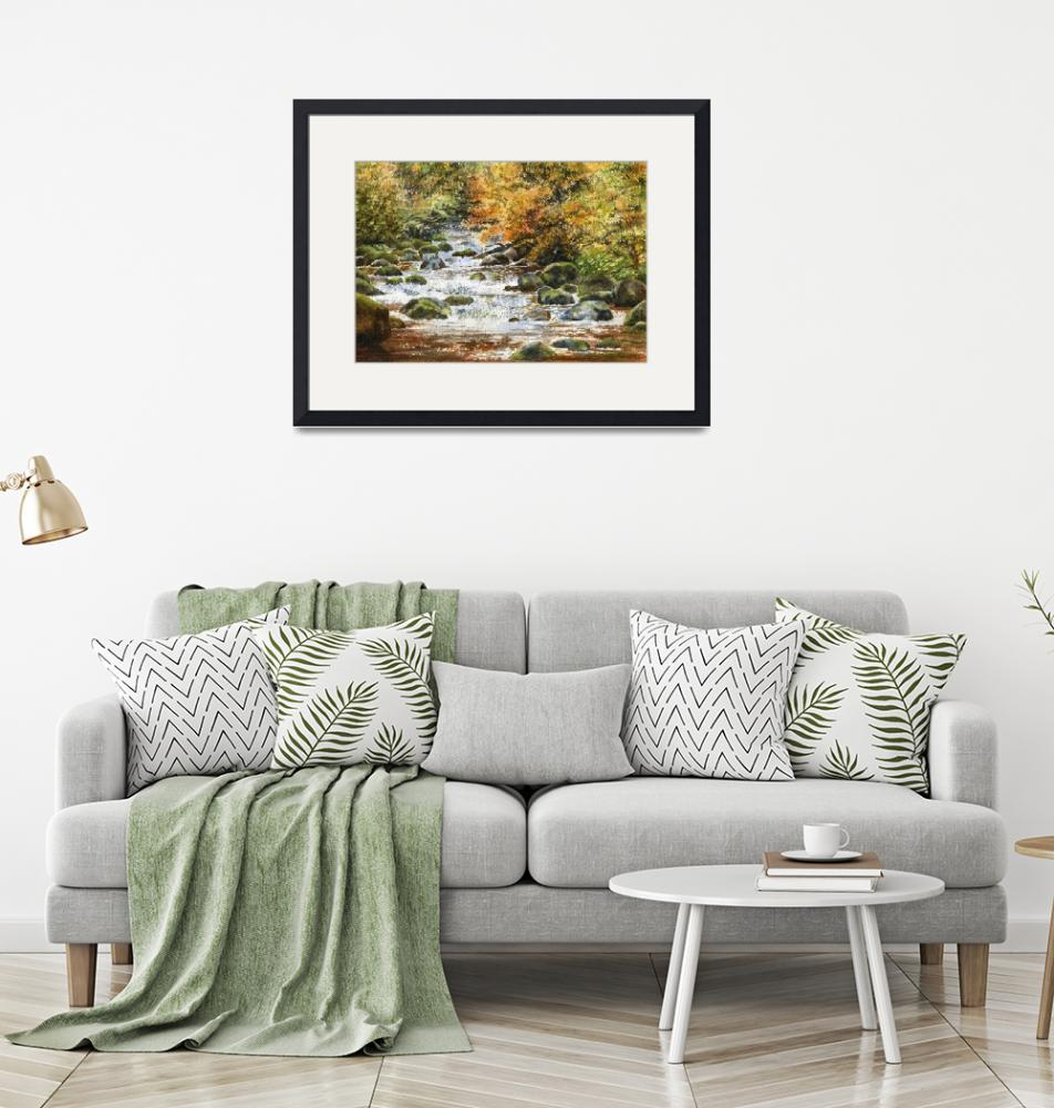 """""""Autumn River Rocks 1"""" (2017) by Pacific-NW-Watercolors"""