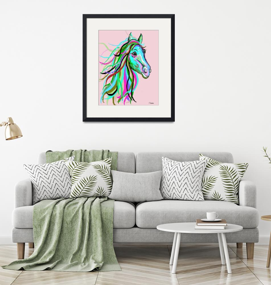 """""""Teal and Pink Horse""""  by EloiseArt"""