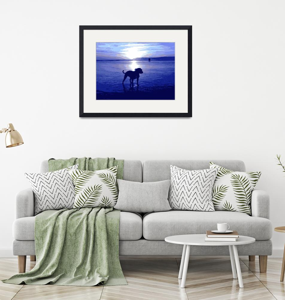 """Staffordshire Bull Terrier on Beach in Blue""  (2008) by ModernArtPrints"