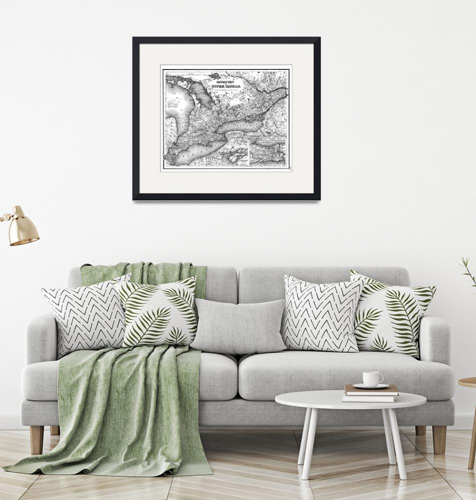 """Vintage Map of Ontario (1857) BW""  by Alleycatshirts"