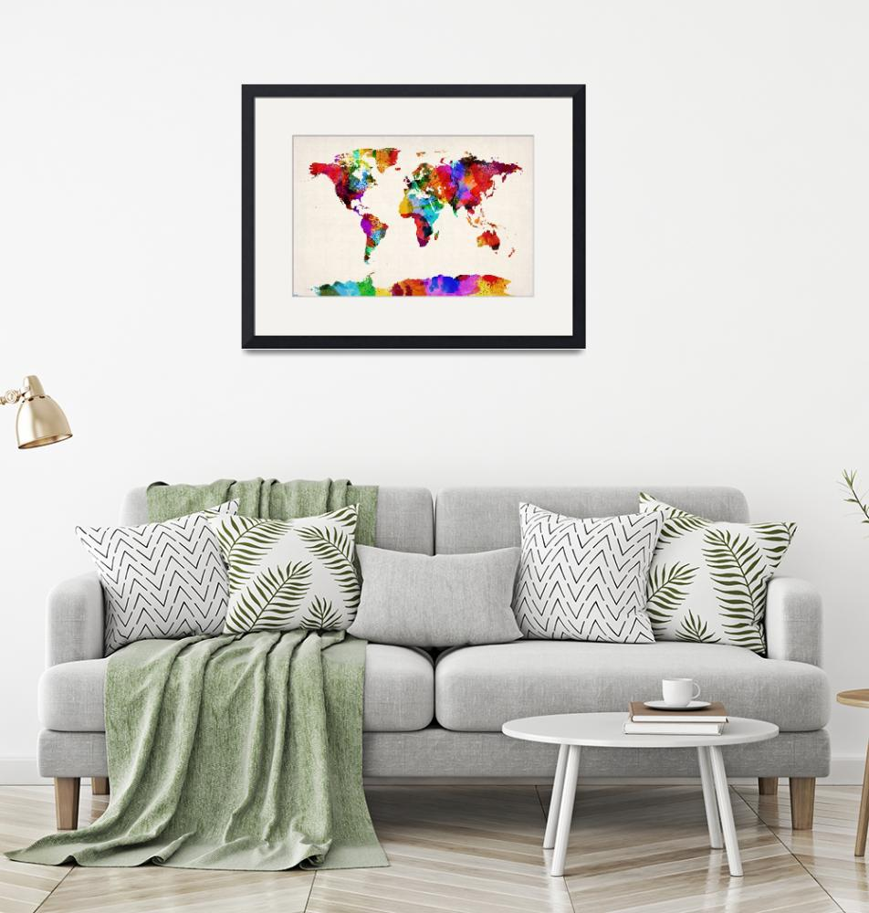 """Map of the World Map Abstract Painting""  (2012) by ModernArtPrints"