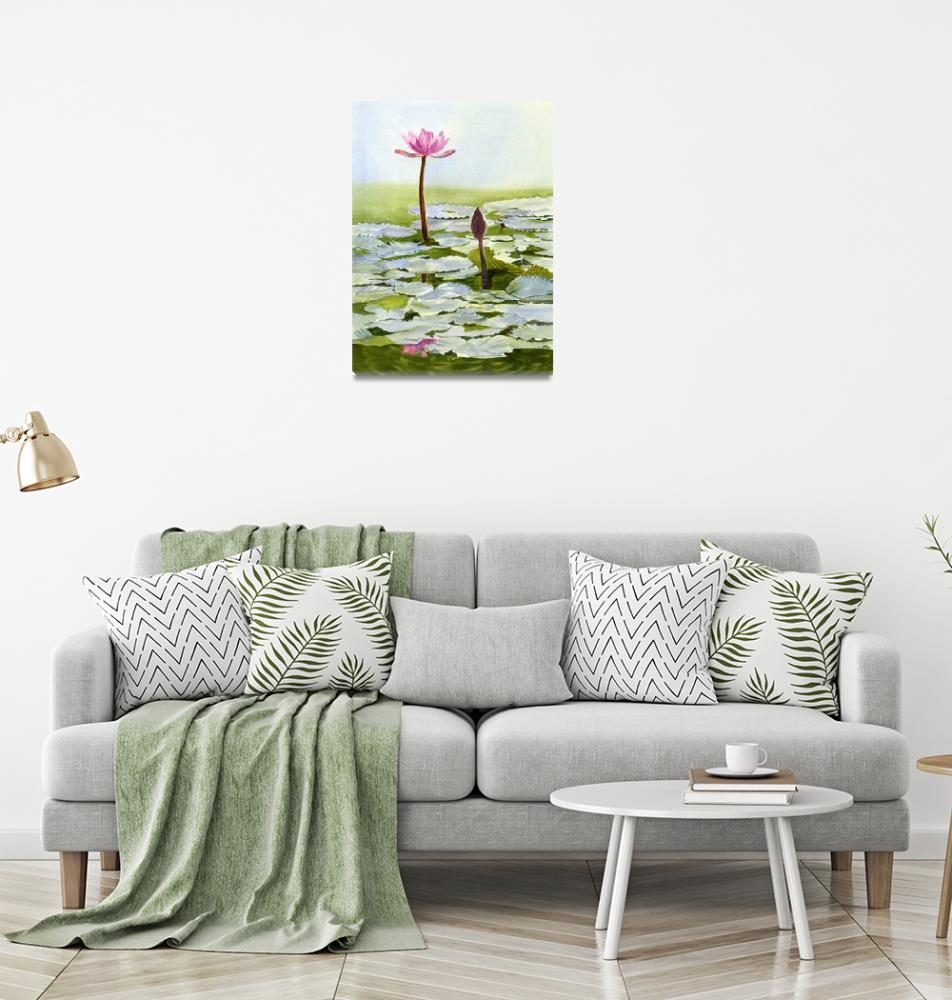 """""""Pink Water Lily Blossom with Bud""""  (2016) by Pacific-NW-Watercolors"""